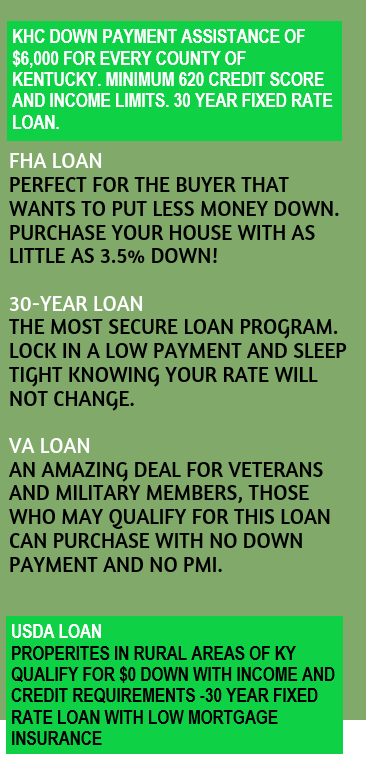 KHC Down Payment Assistance, FHA loans, VA loans, and USDA loans all offer 100% Financing for Kentucky Homebuyers